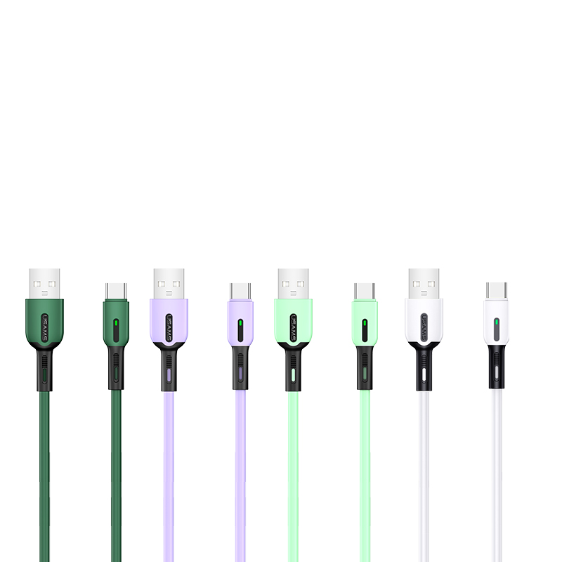 US-SJ433 U51 Type-C Silicone Charging & Data Cable With Light